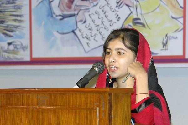 Malala Yousufzai speaking at PODA rural women conference on 15 October 2009